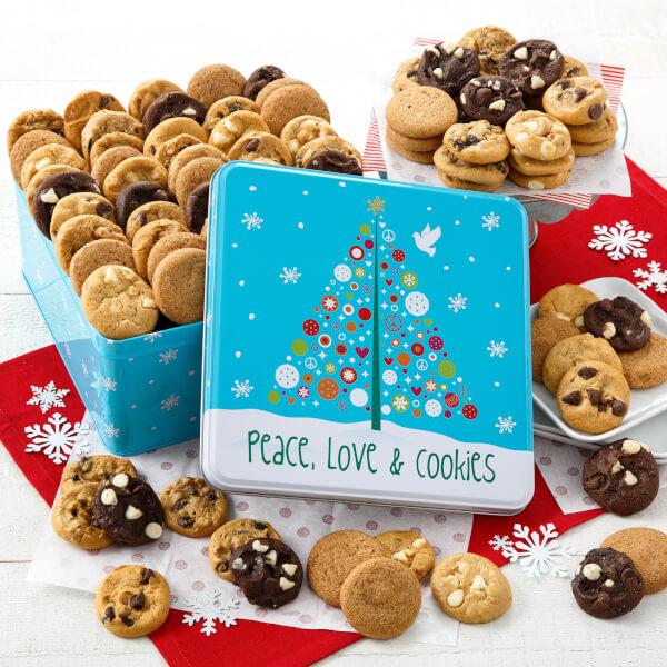 Peace Love  Cookies 90 Nibblers Tin Nut-Free