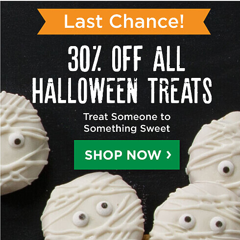 Last Chance Halloween Sale 30% of halloween treats. Shop Halloween