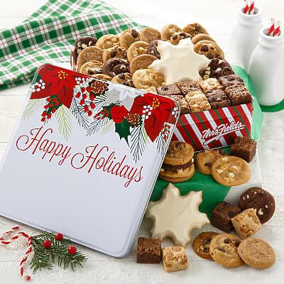 Happy Holidays Poinsettia Medium Combo Tin
