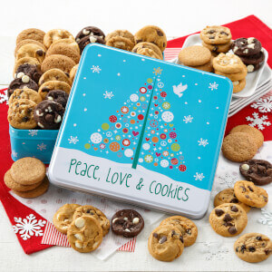 Peace Love  Cookies 60 Nibblers Tin No Nuts