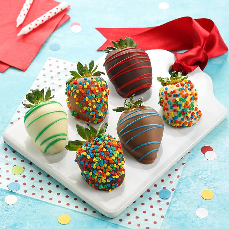 Full Half Dozen Celebration Belgian Chocolate Strawberries