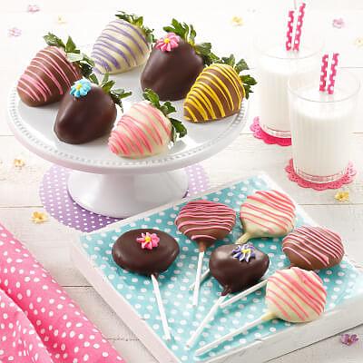 Spring Belgian Chocolate Strawberries  Nibblers Pop Combo