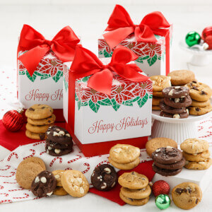 Poinsettia Perfect 24 Nibblers Gift Box Case of 12