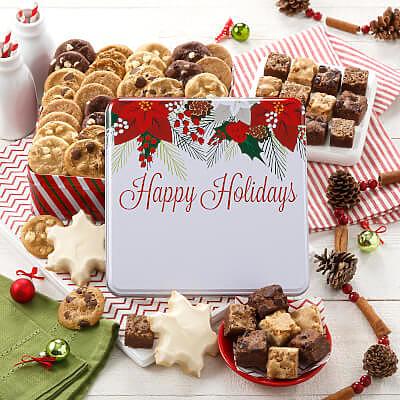 Custom Happy Holiday Poinsettia Medium Combo Tin
