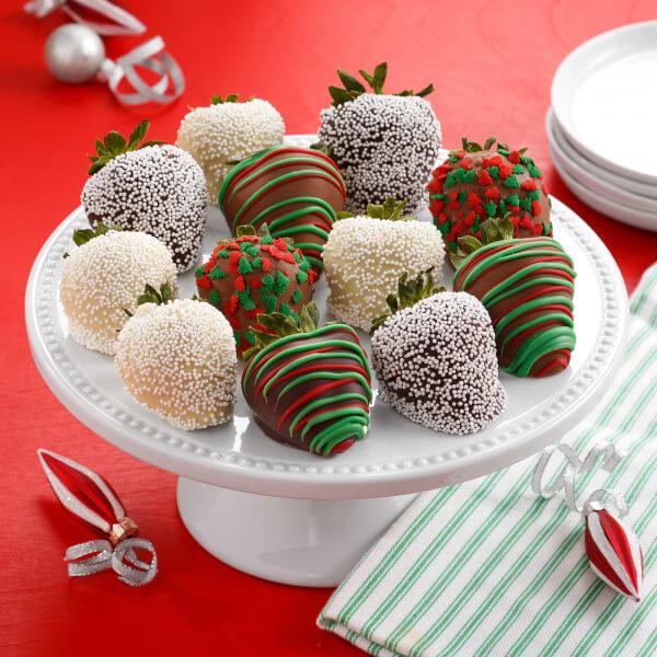 Dozen Holiday Belgian Chocolate Hand-Dipped Strawberries