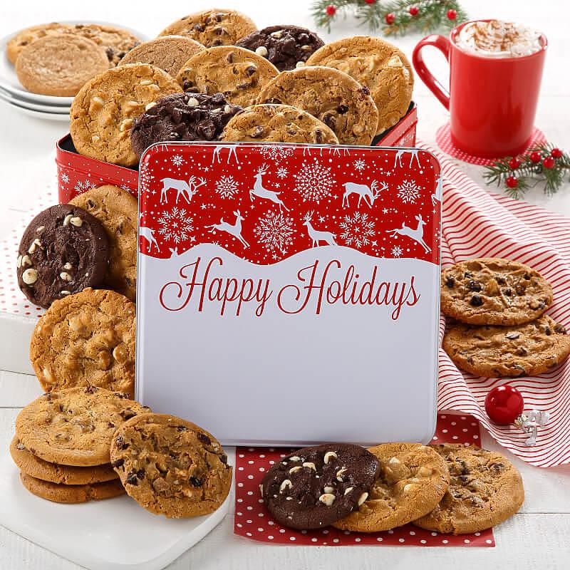 Holiday Reindeer 24 Cookie Tin