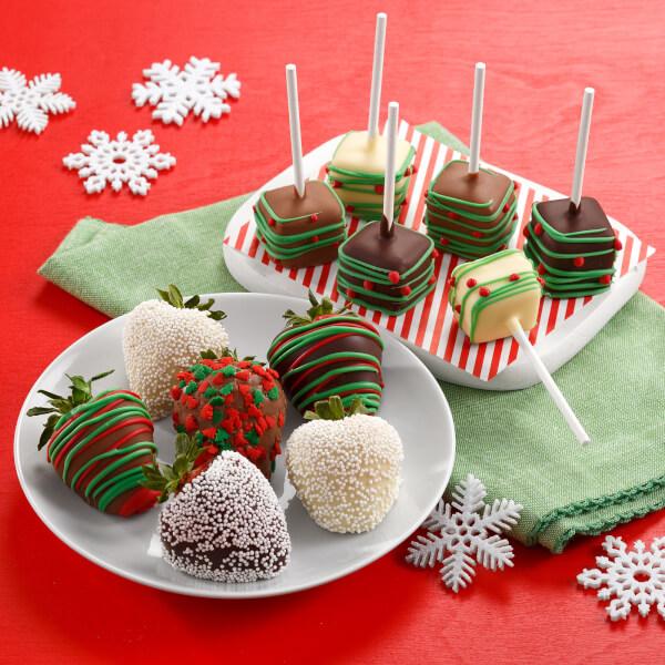 Holiday Belgian Chocolate Berries  Mini Cheesecake Pop Combo