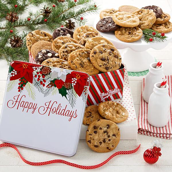 Two Full Dozen Happy Holidays poinsettia Tin