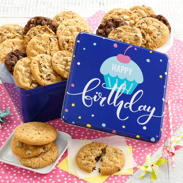 Happy Birthday Two Full Dozen Cookie Tin