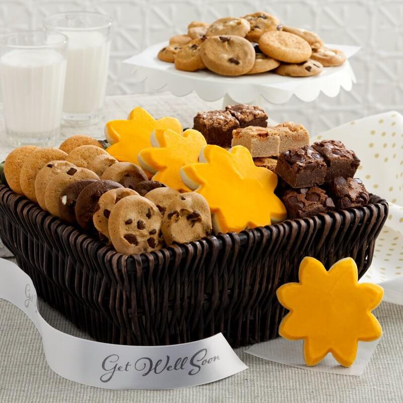 get well sunshine basket basket gift cookies