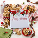 Custom Happy Holidays Poinsettia 60 Nibbler Tin