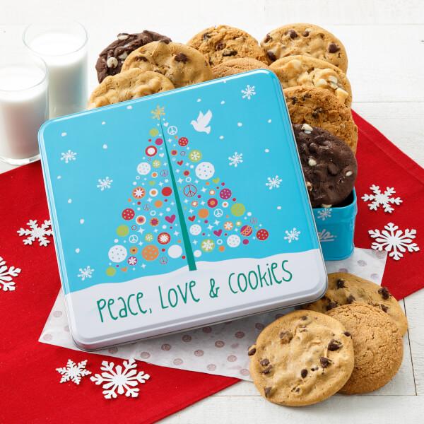 Peace Love  Cookies 12 Cookies Tin