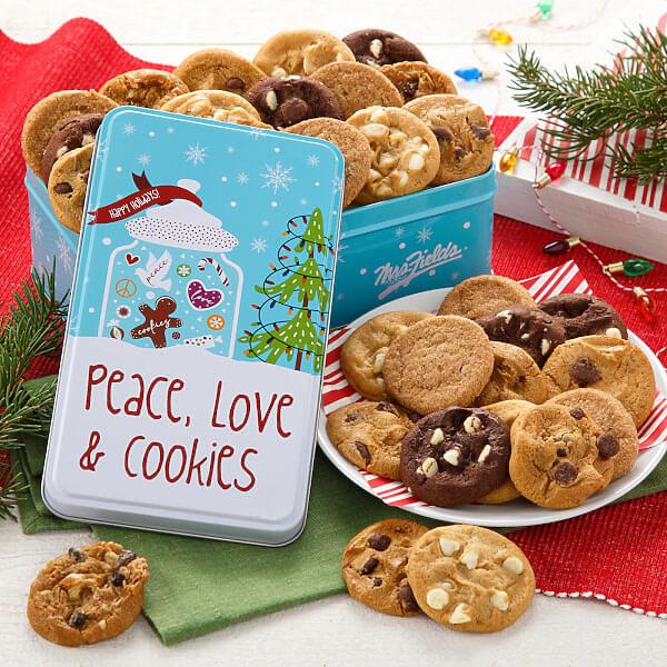 Peace Love  Cookies 30 Nibblers Nut-Free Tin