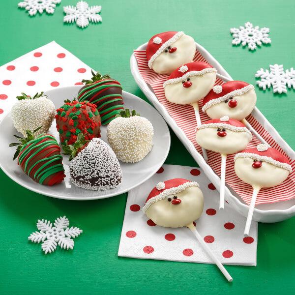 Holiday Belgian Chocolate Strawberries  Santa Nibbler Pop Combo