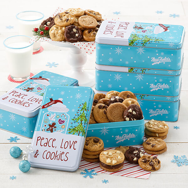 Peace Love  Cookies 30 Nibblers Tin Case of 5